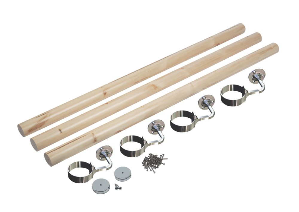 Richard Burbidge  Pine Round Staircase Handrail Kit UnFinished 3600mm