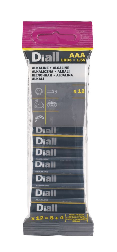 Diall  AAA Batteries 12 Pack