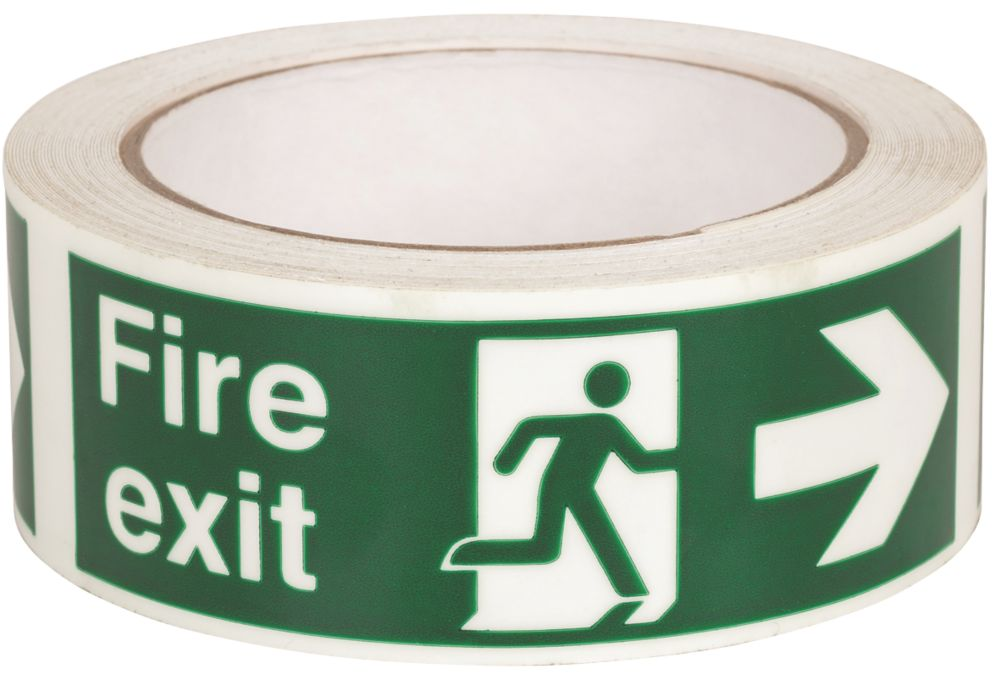 Nite-Glo Fire Exit Right Tape Green & White 10m x 40mm