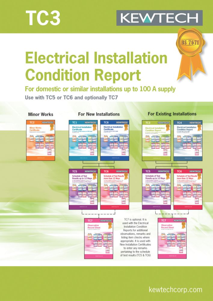 Kewtech TC3 Electrical Installation Condition Report Up To 100A Supply 8 Certificates