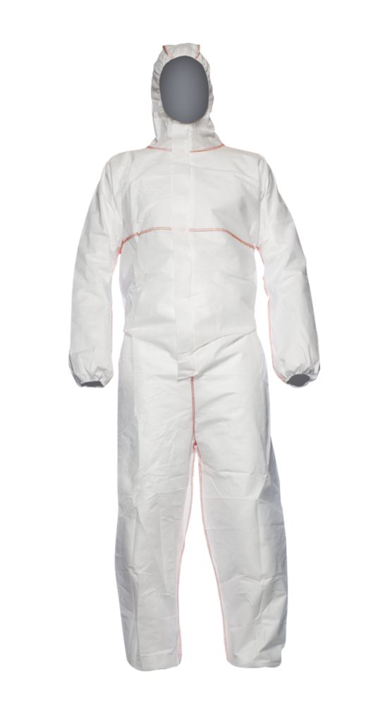 """DuPont Proshield  Flame Retardant Disposable Coverall White Large 42"""" Chest 31"""" L"""
