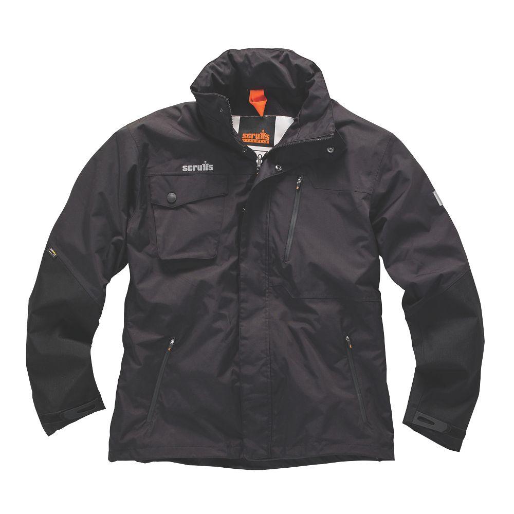 """Scruffs Pro Waterproof Jacket Black X Large 48"""" Chest"""