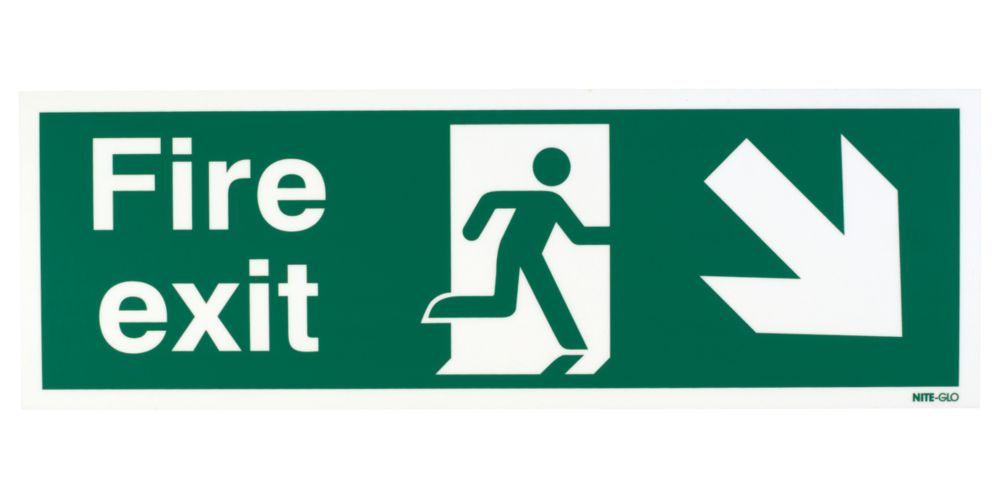 """Nite-Glo  """"Fire Exit"""" Down Right Arrow Sign 150 x 450mm"""