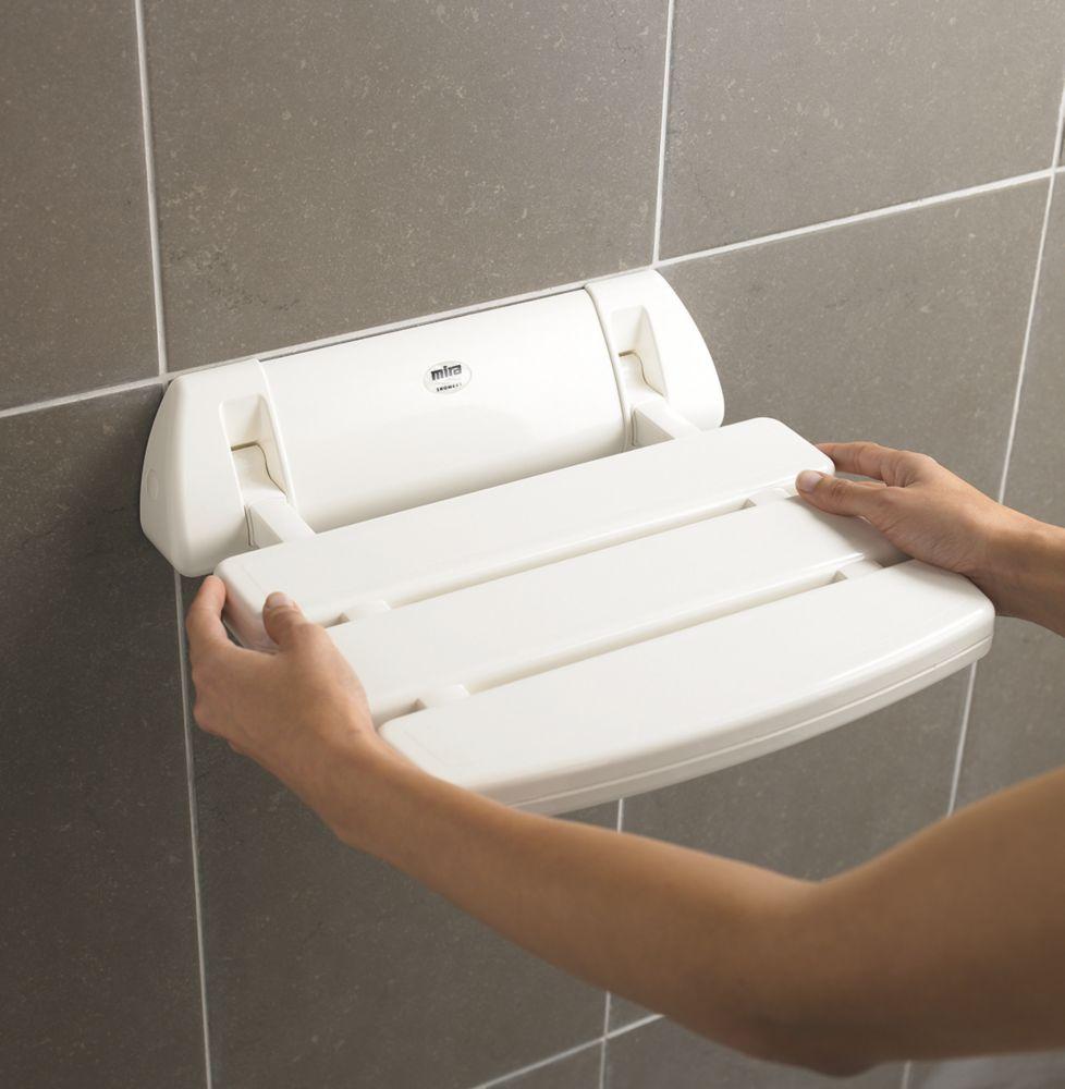 Mira Wall-Mounted Shower Seat White
