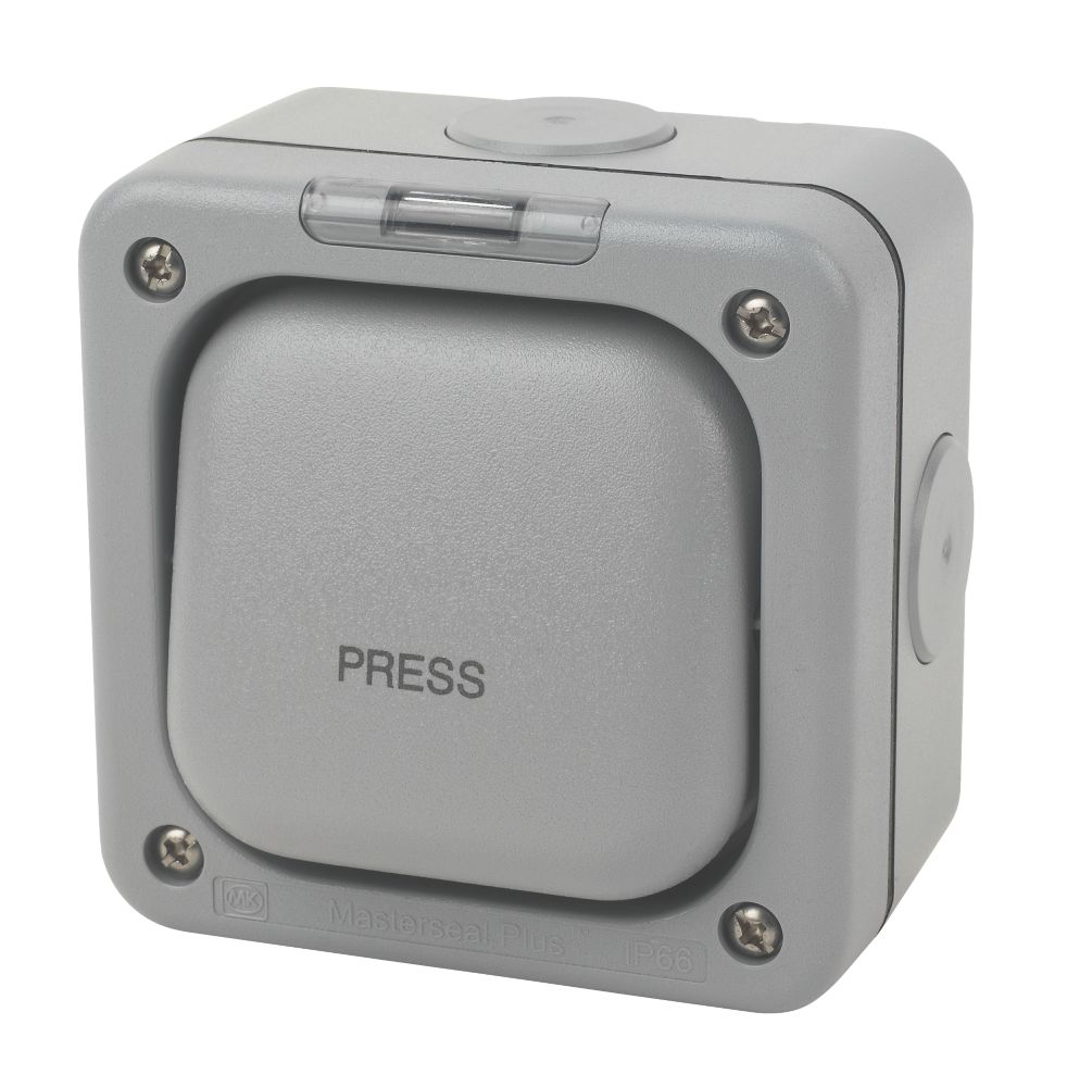 MK  IP66 10A 1-Gang 1-Way Weatherproof Outdoor Switched Push Switch with Neon