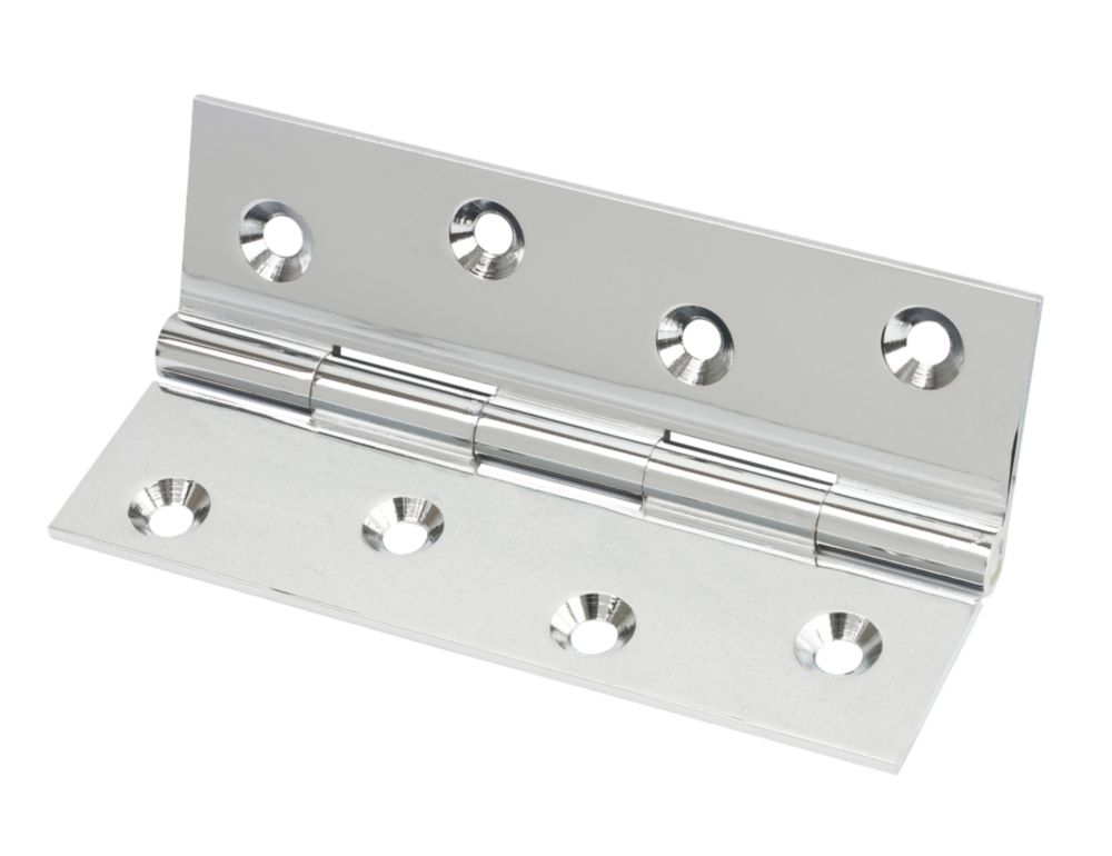 Polished Chrome  Solid Drawn Brass Hinge 102 x 60mm 2 Pack