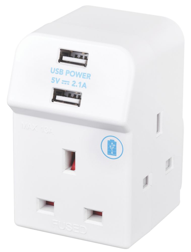 Masterplug 13A Fused 3-Way Multi-Way Socket Adaptor + 2.1A 2-Outlet USB Charger
