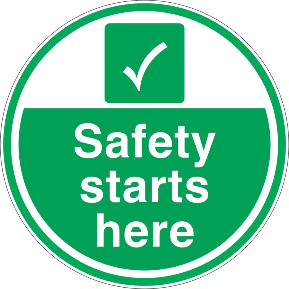 """Safety Starts Here"" Anti-Slip Floor Sign 450 x 450mm"