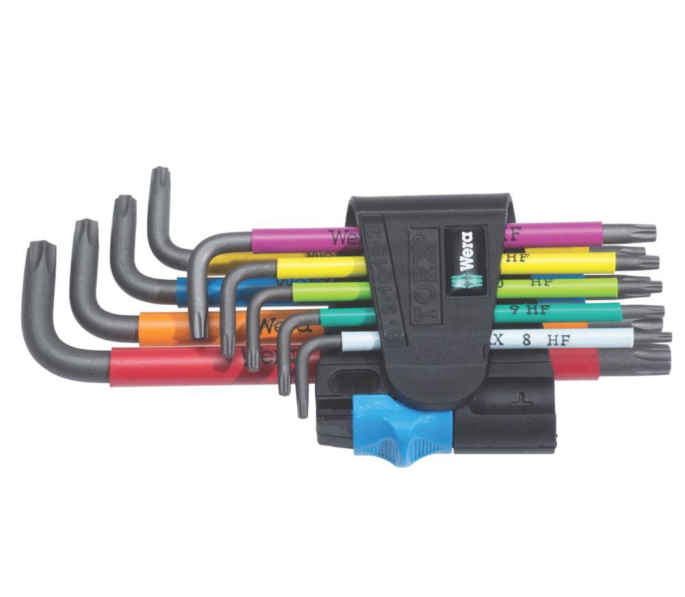 Wera L-Keys Metric & TX Multicolour Holding Function BlackLaser Key Set 9 Pieces