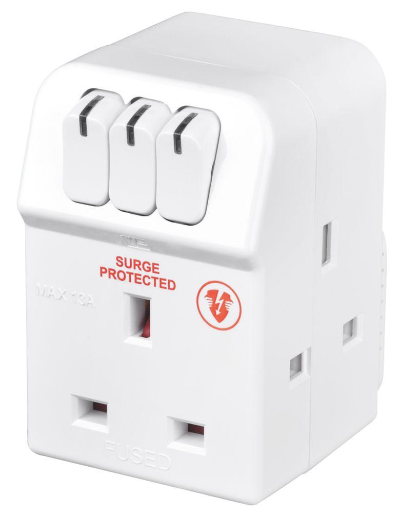 Masterplug 13A Fused 3-Way Surge-Protected Multi-Way Plug Adaptor