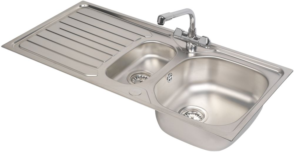 Franke Reno / Danube Stainless Steel Inset Sink & Mixer Tap 1.5 Bowl 1000 x 500mm