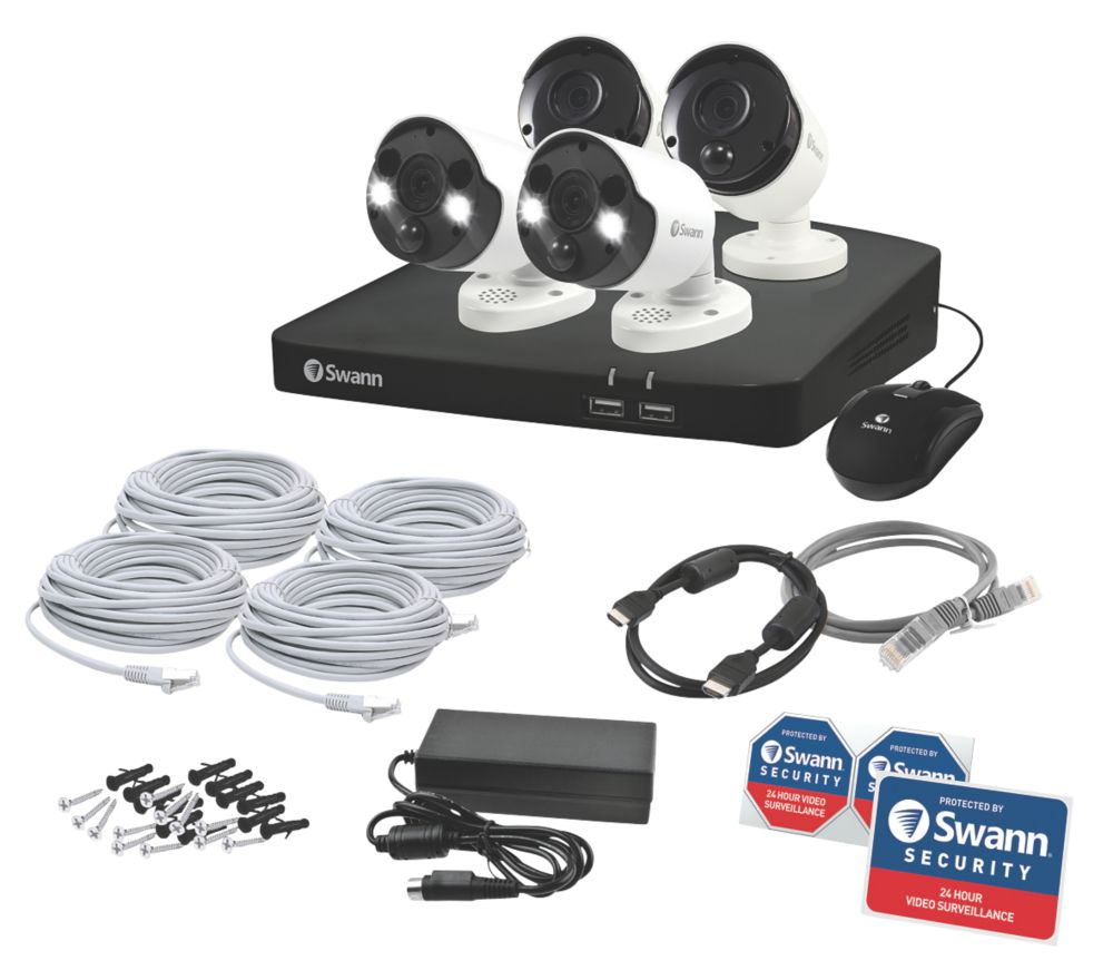 Swann SWDVK-887802B2FB 8-Channel CCTV NVR Kit with 4 Cameras