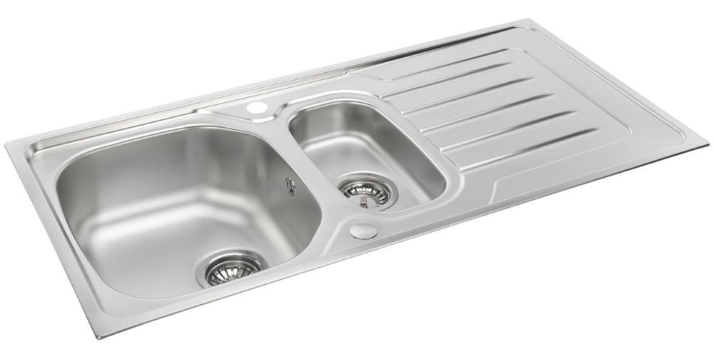 Carron Phoenix Onda Reversible Sink & Drainer Stainless Steel 1.5 Bowl 1000 x 500mm