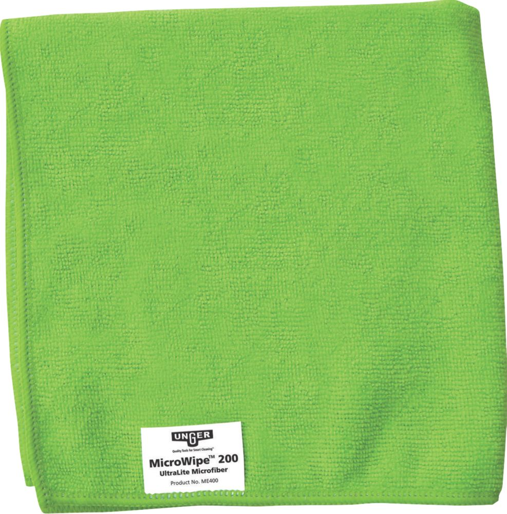 Unger Microfibre Cloths Green 400 x 400mm 10 Pack