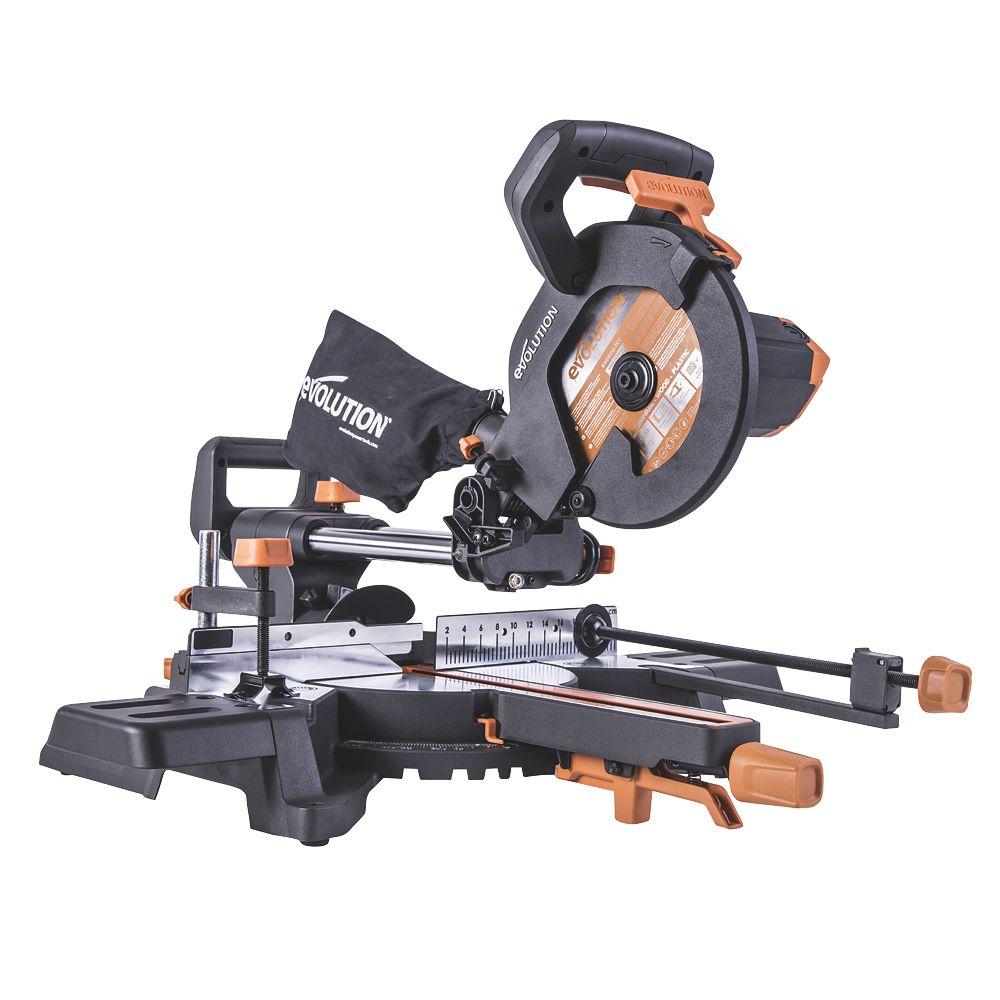 Evolution R210SMS-300+ 210mm  Electric Single-Bevel Sliding High Capacity Multi-Material Mitre Saw 240V