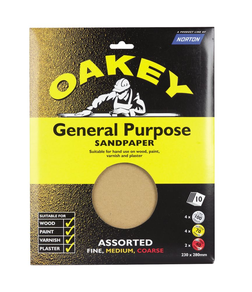 Oakey Assorted Sandpaper Unpunched 280 x 230mm Assorted Grit 10 Pack