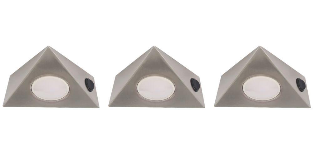 LAP  Triangular LED CCT Cabinet Downlight Satin Nickel 15W 3 x 400lm 240V 3 Pack