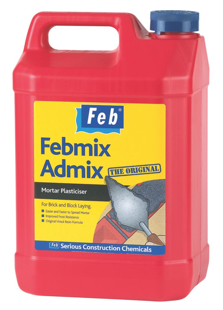 Everbuild Febmix Admix Mortar Plasticiser Dark Brown 5Ltr