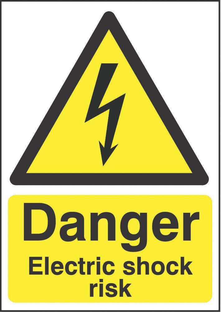 """""""Danger Electrical Shock Risk"""" Sign 210 x 148mm"""
