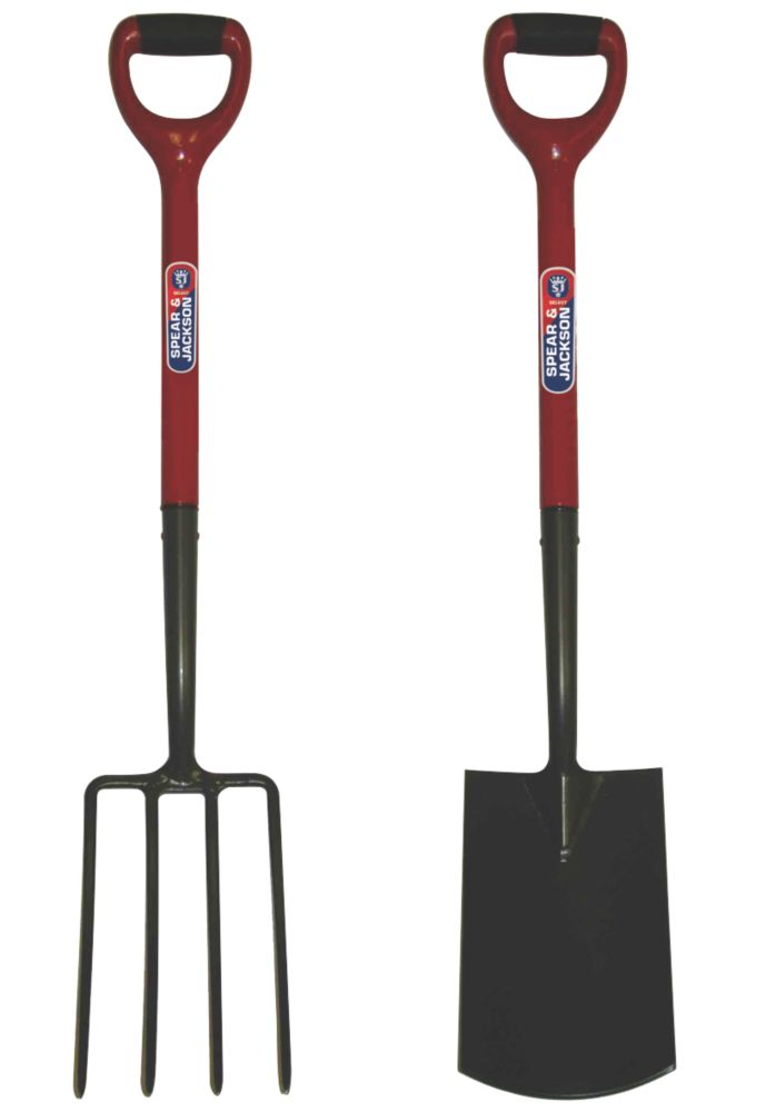 Spear & Jackson  Carbon Steel Digging Fork & Spade 2 Pcs