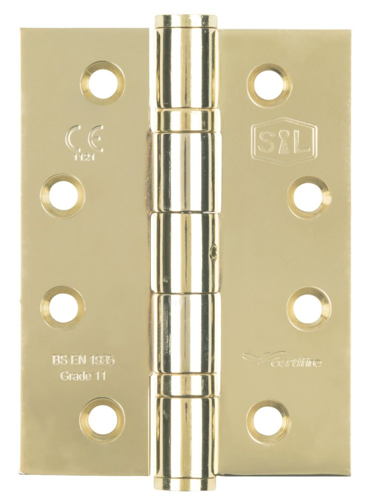 Smith & Locke Electro Brass Grade 11 Fire Rated Ball Bearing Hinge 102 x 76mm 3 Pack