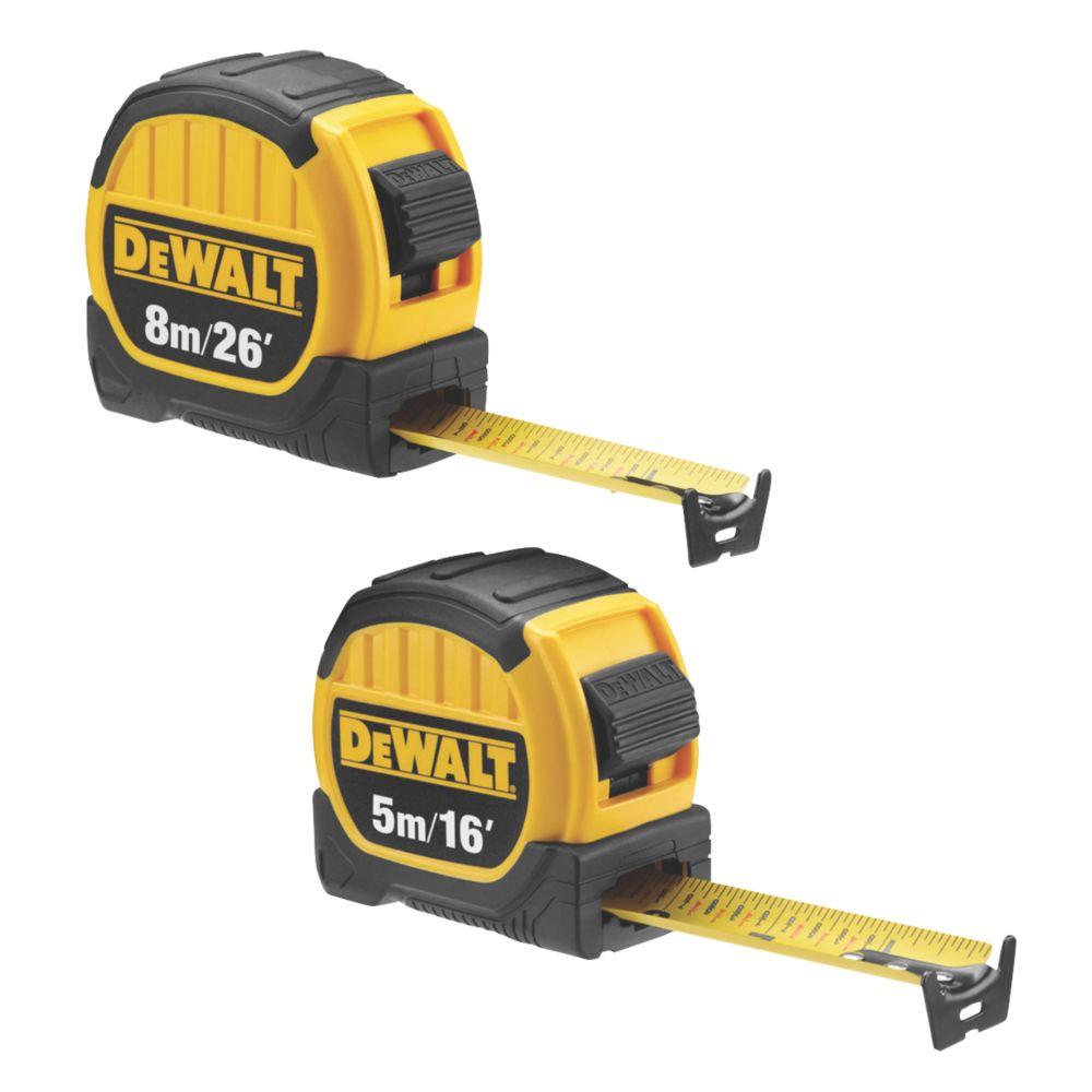 DeWalt  5 & 8m Tape Measure 2 Piece Set