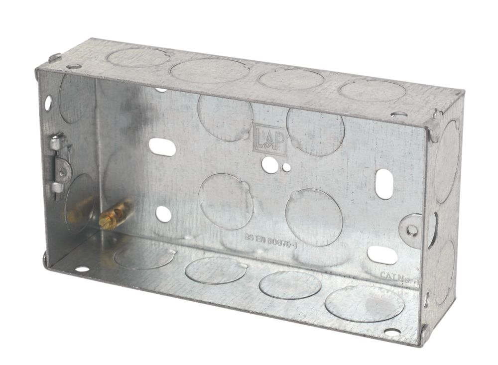 LAP Installation Boxes Galvanised Steel 2 Gang 35mm Pack of 10