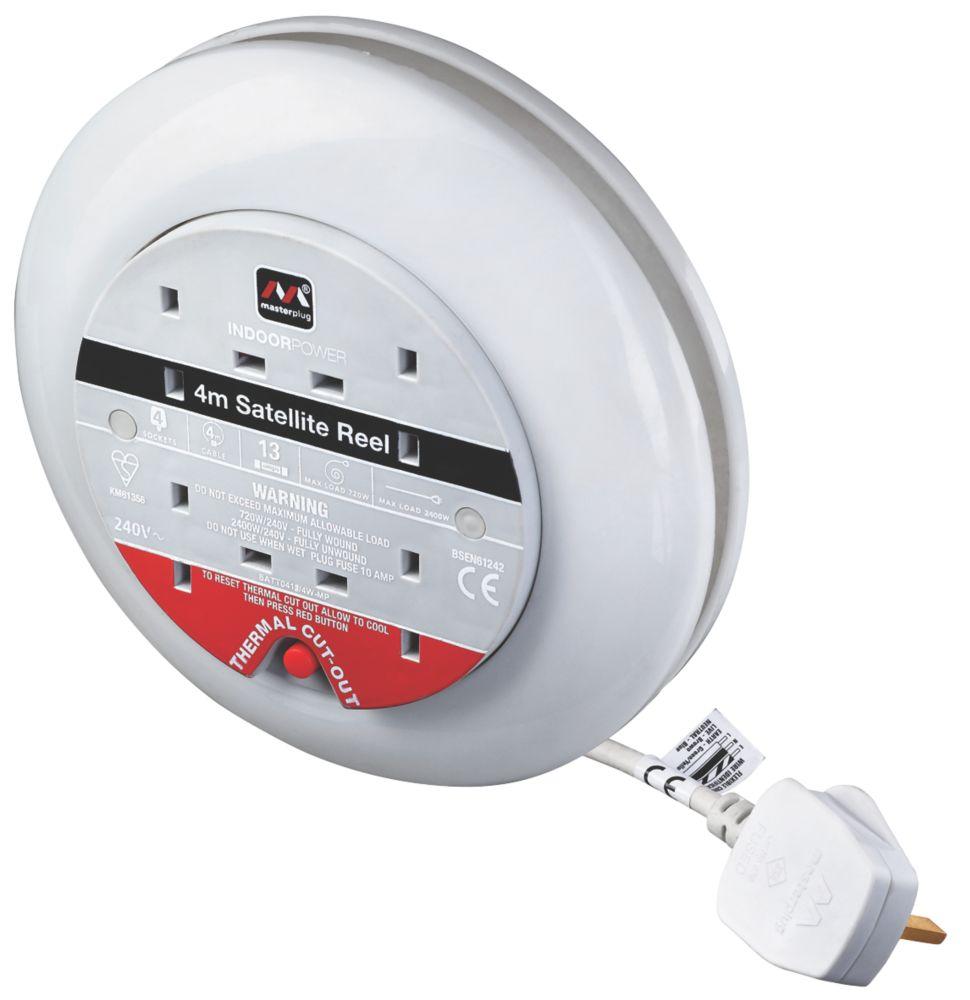 Masterplug SATT0413/4W-XD 13A 4-Gang 4m Cassette Reel 240V