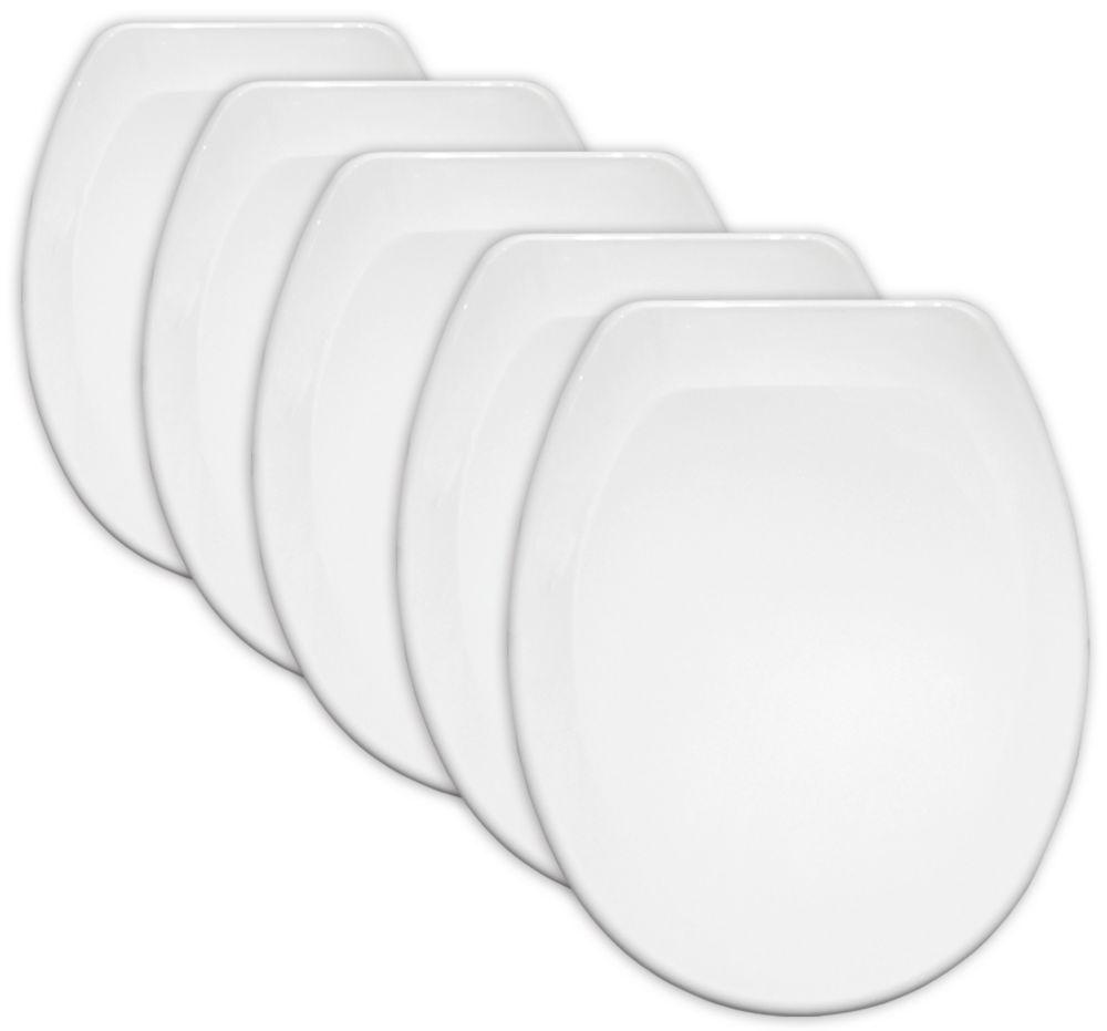 Carrara & Matta Jersey Standard Closing Toilet Seats Thermoplastic White 5 Pack