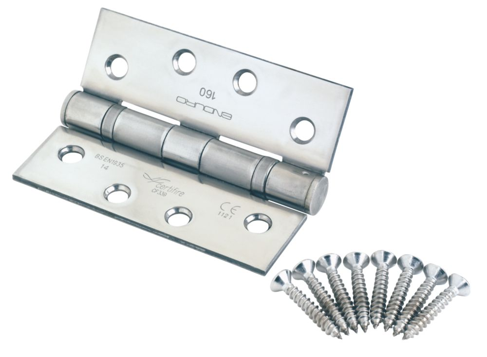 Eurospec Polished Stainless Steel Grade 14 Fire Rated Thrust Bearing Hinge 102 x 76mm 2 Pack