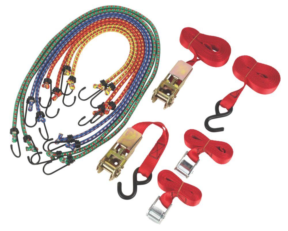 Ratchet Cambuckle Tie-Down & Bungee Set  x  12 Piece Set