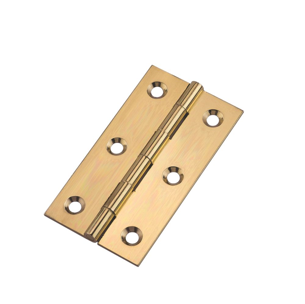 Polished Brass  Butt Hinges 76 x 41mm 2 Pack