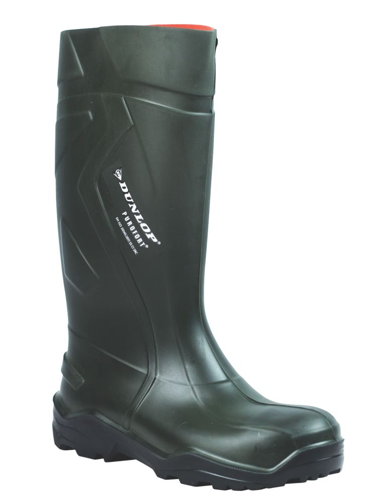 Dunlop Purofort+   Safety Wellies Green Size 10