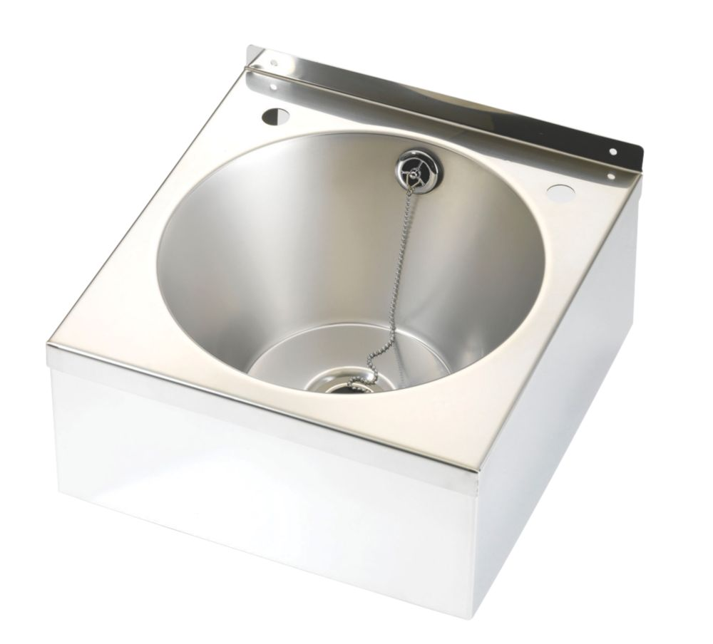 Franke Model B Wall-Hung Wash Basin 2 Tap Hole Stainless Steel 1 Bowl 345 x 185mm