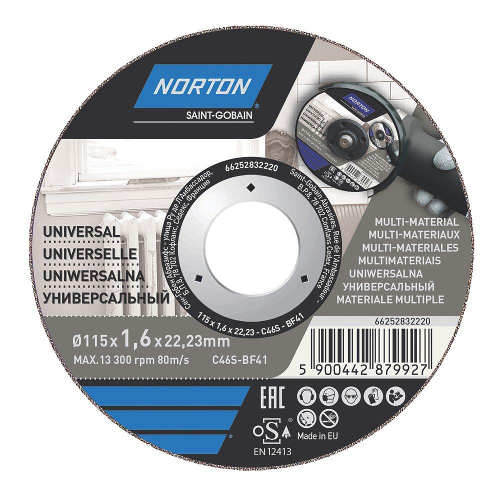 "Norton  Multi-Material Cutting Disc 4½"" (115mm) x 1.6 x 22.23mm 5 Pack"