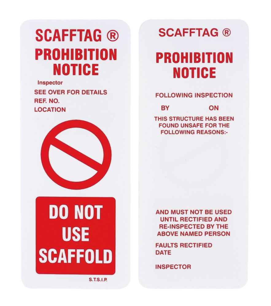 Scafftag  Scaffold Prohibition Inserts 10 Pack