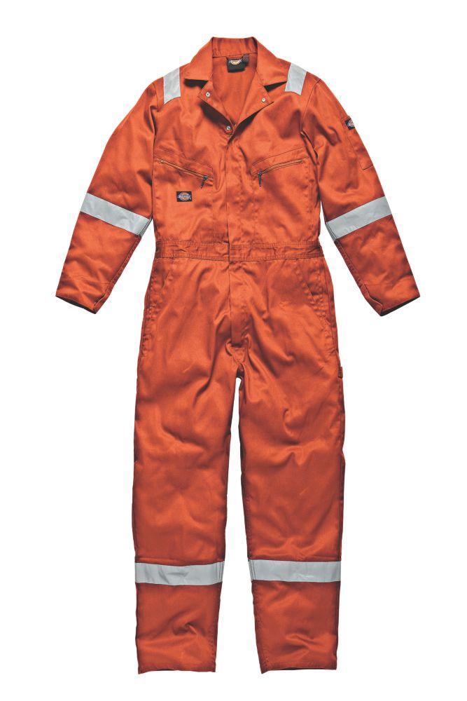 "Dickies WD2279 Zip Front Coverall Orange Medium 40-42"" Chest  L"