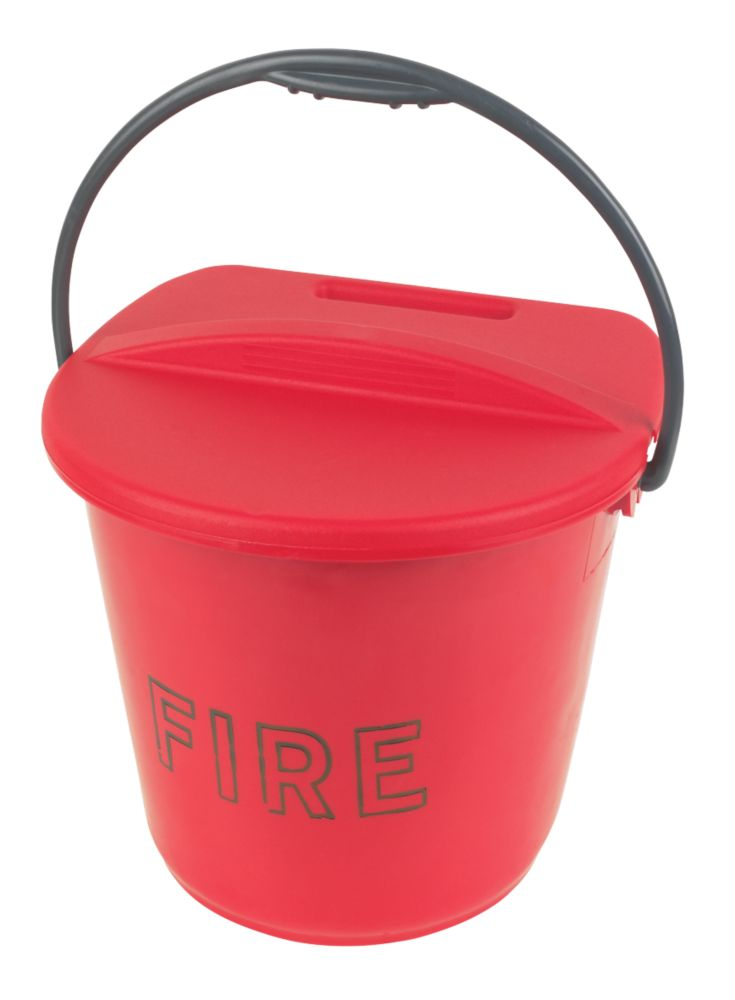 Plastic Plastic Fire Bucket & Lid 10Ltr