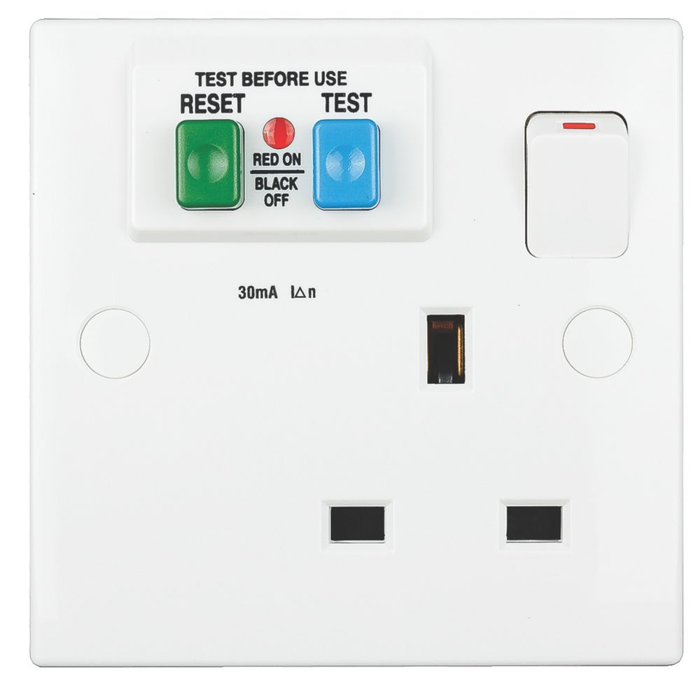 Schneider Electric Exclusive Square Edge 30mA 1-Gang 2P+E Switched Passive RCD Socket White