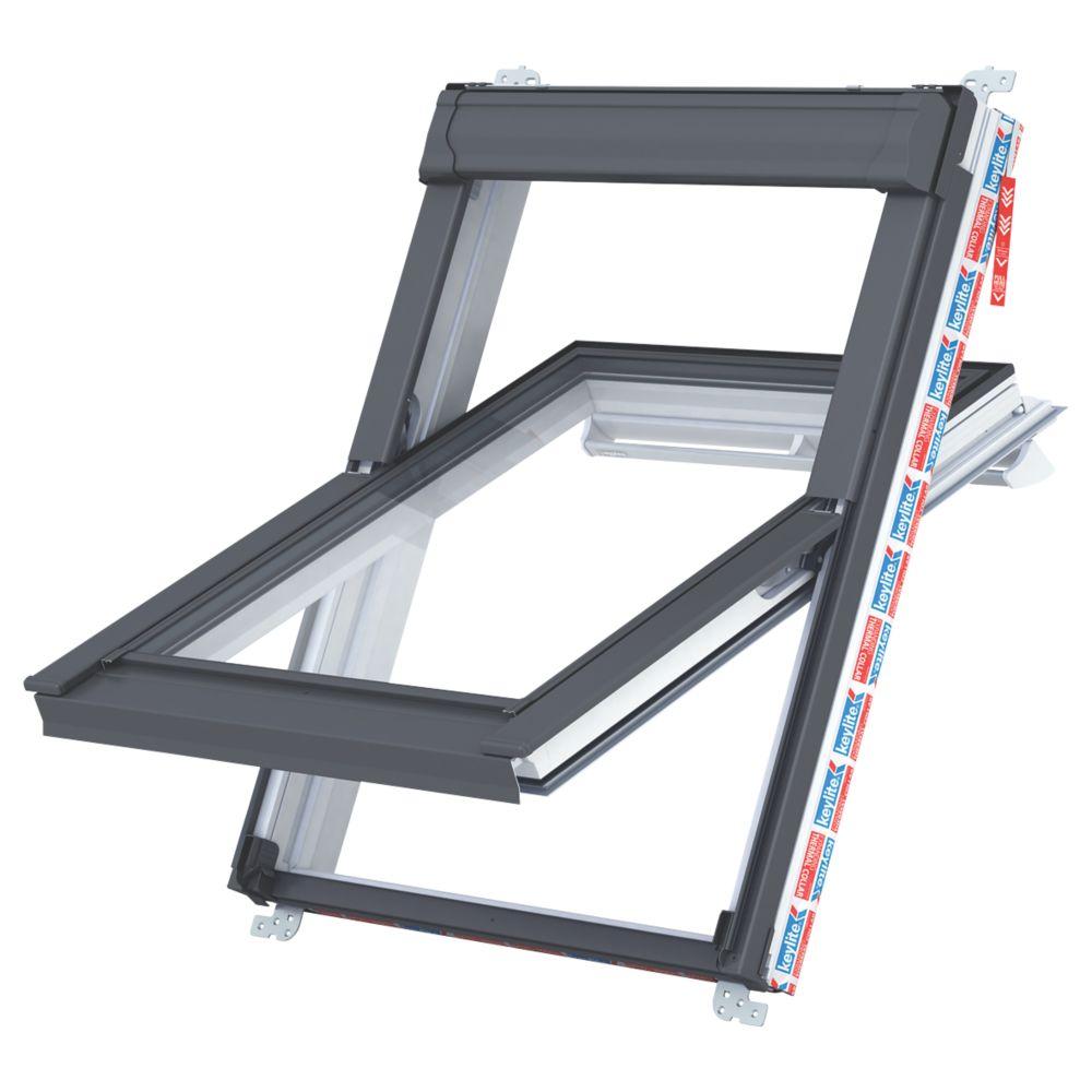 Keylite  P01 Manual Centre-Pivot Polar White uPVC Roof Window Clear 550 x 780mm