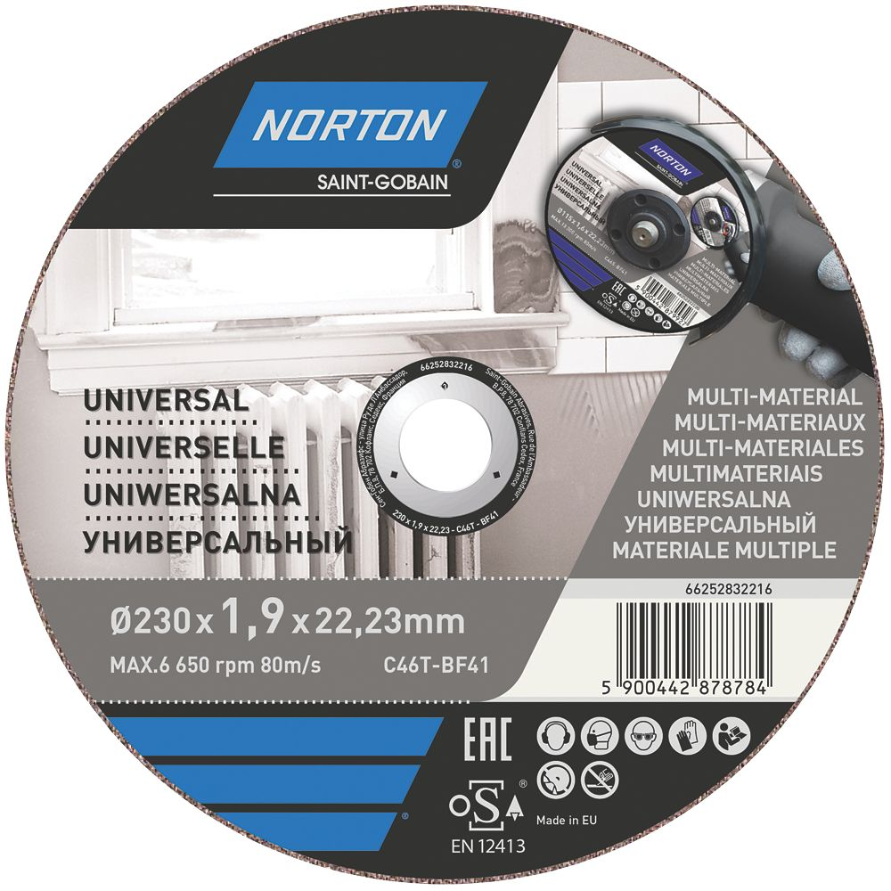 "Norton   Cutting Disc 9"" (230mm) x 1.9 x 22.23mm 3 Pack"