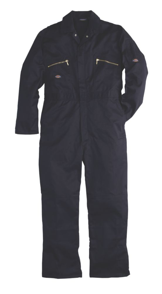 """Dickies Redhawk Zip Front Coverall Navy Large 44-46"""" Chest 30"""" L"""