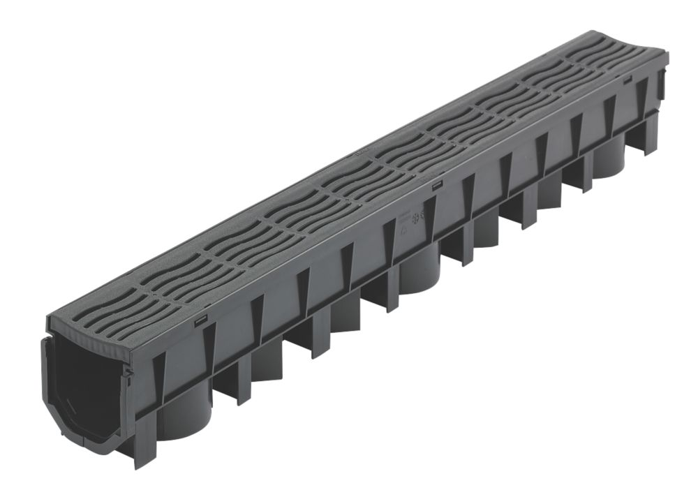 FloPlast FloDrain Channel Drain & Grate Black 115mm x 1012mm