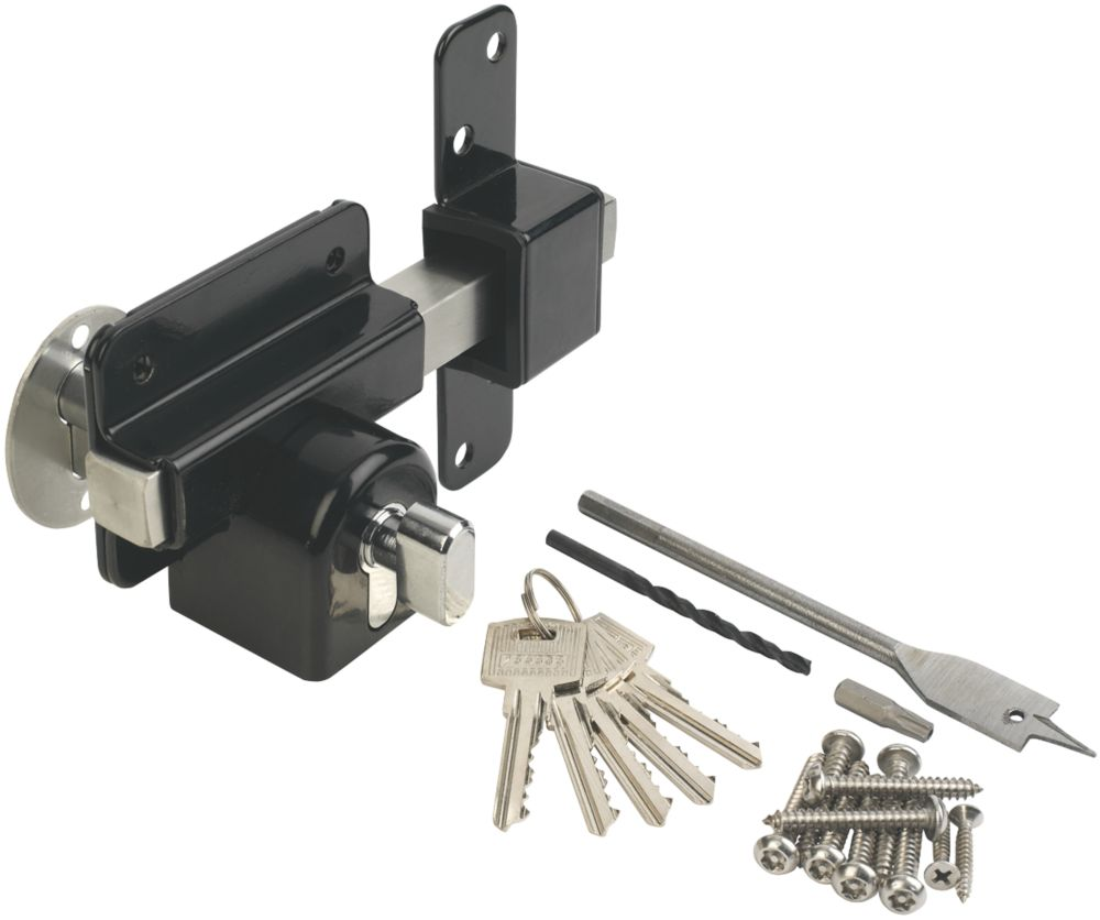 GateMate Black  Euro Profile Long Throw Lock 85mm