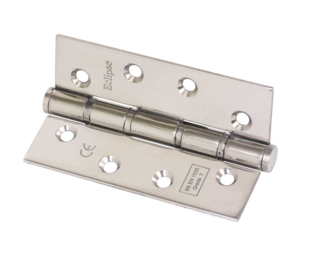 Eclipse Polished Stainless Steel Grade 7 Fire Rated Washered Hinge 102 x 67mm 2 Pack