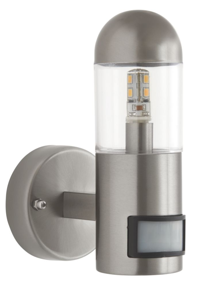 66192 Outdoor LED Wall Light PIR Brushed Stainless Steel 200lm 2.3W