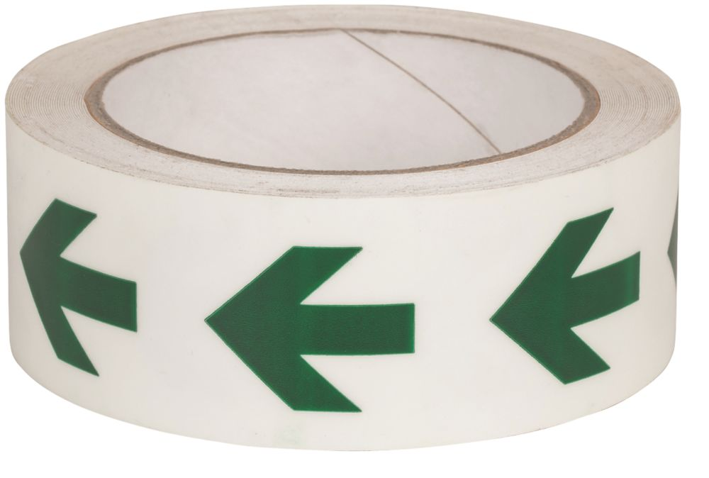 Nite-Glo Directional Arrow Tape Green & White 10m x 40mm