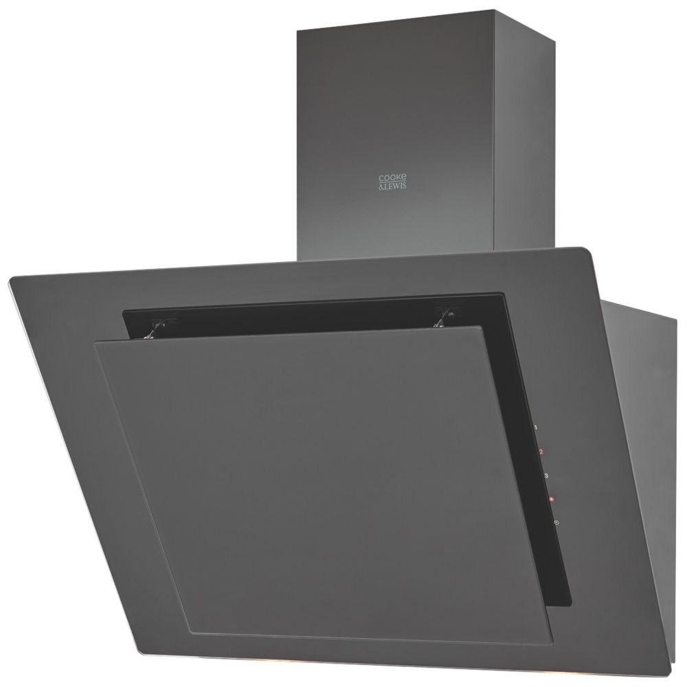 Cooke & Lewis CLAGB60 Angled Cooker Hood Black 600mm