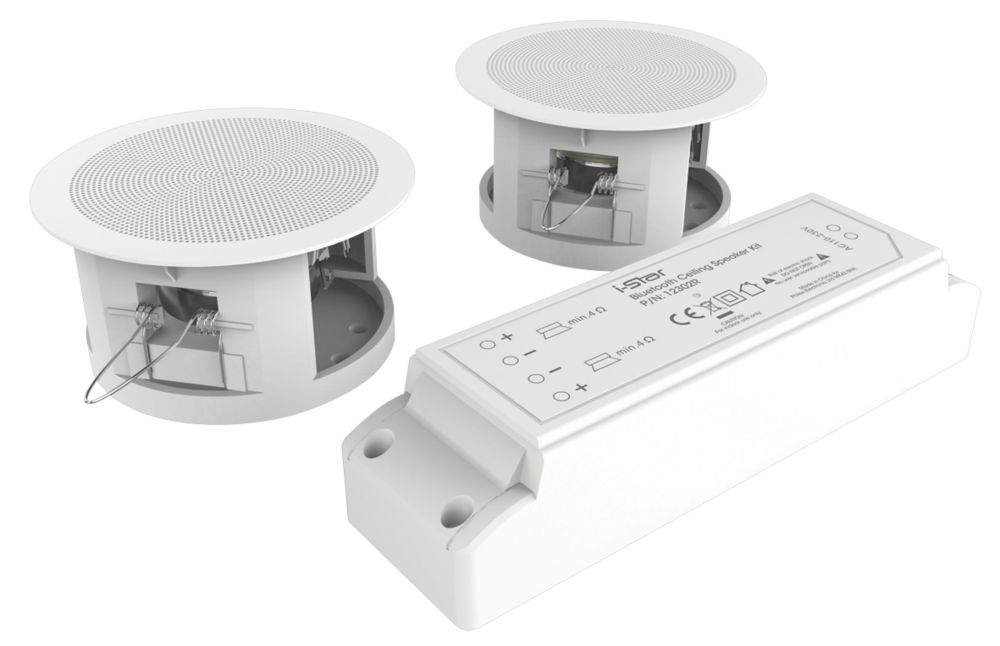 """iStar  Wireless Compact Ceiling Speaker Kit  White 3.3"""" 6W RMS"""