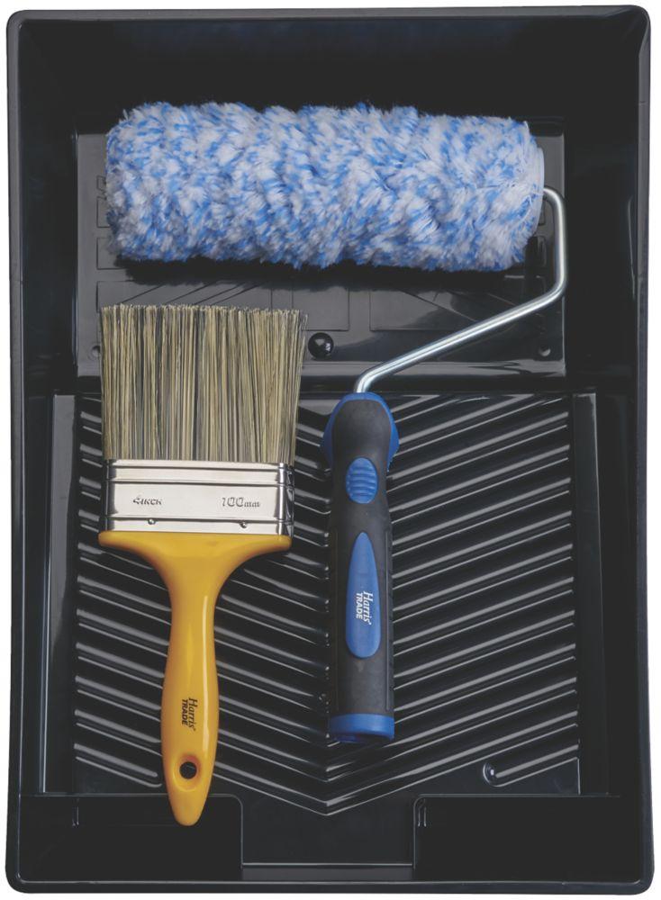 Harris Trade Extra Long Pile Masonry Roller & Brush Set 4 Pieces
